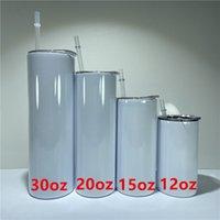 30Oz 20Oz 15Oz 12z Sublimation dünne geradlinige Trommelschuhe weiße leere Edelstahl-Wasser-Flaschen doppelt isolierte Wärme-Transfer-Becher Brillen-Becher A12