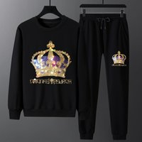 Plus Size 2021 Sportswear Hoodies Men Sets Clothes Crown Rhinestones Full Slim Rib Sleeves Tracksuits Cotton Sweatshirts Coats X0503