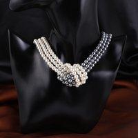 Жемчужное короткое ожерелье черно-белый двухцветный узел жемчужный ожерелье одежда с различными цепями ключицы Haowei ювелирные изделия