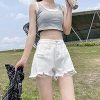 Women's Jeans White Denim Shorts Summer 2021 High Waist Slim Loose Black A Pants Tide Ins Jean Lady