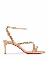 Elegante Damen Sommer Heels Rote Unterseite High Heel Sandalen Mafaldina Spikes Sexy Frauen Redsohlen Schuhe Summers Markenpumpen Knöchelriemen Nieten Schuh