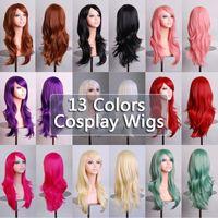 70 cm perruques synthétiques pour femmes pour femmes cosplay perruque blonde blonde bleu rouge rose gris violet cheveux humain fête halloween cadeau de Noël