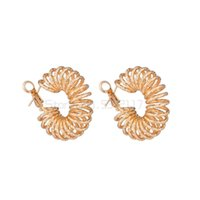 Hoop & Huggie Luxury Bamboo Knot Cubic Zircon Statement Big Earrings For Women Wedding DUBAI Bridal Round Circle 2021