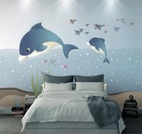 Large Custom Mural Wallpaper Ocean Whale Children's Room Background Wall Nordic Creative Stickers Decorative Painting Wallpapers
