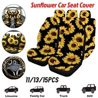 Sunflower Car Seat Cover Set Universal Print Back Steering Wheel Coche Yellow Mats Auto Accessorie Covers