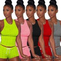 Femmes Tracksuits Outfits d'été Jogger Costumes Yoga Fitness Two Piece Ensemble Plus Taille 2XL Débardeur + Short Casual Black Sportswear Broderie Sweatsuits 4739