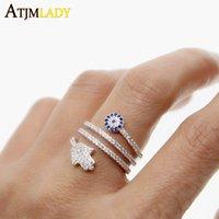 YUTONG hoge kwaliteit schroef twist ring micro pave wit blauw cubic zirkonia 5A cz fatima hamsa hand ronde oogringen voor vrouwen sieraden