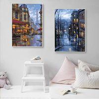 Marco de pintura de bricolaje por números City Night Modern Acrylic Pinte Wall Art - Fondos de pantalla gratis para regalos Home Ilustraciones Pinturas