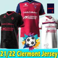 21/22 Maillots Clermont Foot 63 Futbol Formaları 2021 2022 Bayo Dossou Allevinah Berthomier Magnin Iglesias, Eve Söyleyin Üçüncü Jersey Futbol Gömlekleri