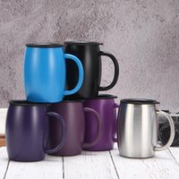 15oz 420ml Coffee Mugs Stainless Steel Insulated Vacuum Flasks Thermos Double Layers Belly Cup Tumbler With Handle Lid Water bottle