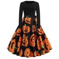 Halloween Womens Casual Dress Bat Kürbis Stickerei Plus Größe Frauen Kleider Dame Komfortables Lose Party Festival A-Linie
