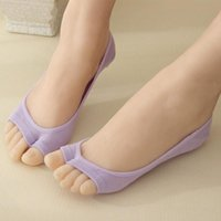 Sports Socks 1Pair Aloe Fiber Yoga Women's Sport Thin Open Toe Female Sock Slippers Invisible Non-slip 676977