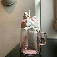 600ML Pink Sakura Cute Cat Starbucks Straw Mugs Glass Cold Drink Cup Gift Product