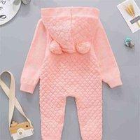 Hiver Baby Body Body Body Chaud Fashion Enfants Grilles Sweet Sweater à manches longues Sweatch Sweat Hoode Romper Casual Jumpsuit pour enfants avec bouton H929STJ4