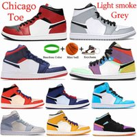 Mid 1 1s Chicago Toe Basketball Shoes Light Smoke Grey Se Usa Multi -Color Mixed Texures Blue Sneakers White Black Men Trainers