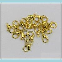 Ganchos de los hallazgos de la joyería ¡Joyería de los componentes! 10 mm 12 mm 14 mm 16 mm 18 mm Clases de langosta de aleación de oro plateada (ZA72) Entrega de caídas 2021 OE8K6