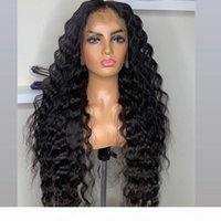 26inches 180densité Soie de Silk à ondes profondes en dentelle pleine dentelle Perruques de cheveux humains Indien Précédent de frontales 360 dentelle pour femmes noires