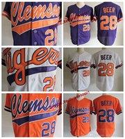 Mens Clemson Tigri Seth Beer Birra College Baseball Jersey a buon mercato Bianco Arancione Purple 28 Seth Birra Università Stitched Shirts