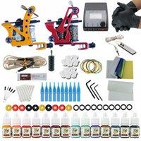 Complete 2 Tattoo Machine Gun 14 Tintas de color Set de fuente de alimentación Juego de kits para principiantes Pigmento FOT1