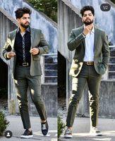 Men's Suits & Blazers Dark Green Lapel Two Button Men Costume Homme Wedding Prom Terno Masculino Slim Groom Tuxedos Blazer 2 Pieces Jacket P