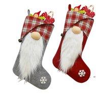 Bas de Noël Sac cadeau Gnome 3D peluche suédoise arbre de Noël pendentif ornement xmas décoration fwb10173