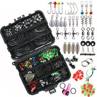 Fishing Accessories 188pcs Box Tackles Kit Lead Hook Swivel Snap Stop Beads Bait Crank For Outdoor