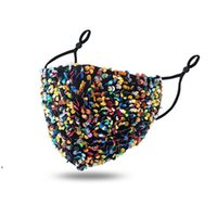 2021 Fashion Bling Bling Washable Reusable Mask PM2.5 Face Care Shield Sequins Shiny Face Cover Anti-dust Mouth Mask DWE10072