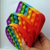 الأطفال الاصبع اللعب سيليكون rainbow التعادل صبغ اللون وسادات تململ لعبة دفع فقاعة البوب-لها الحسية الإجهاد الإغاثة الكرة سطح اللعبة H41S6KN