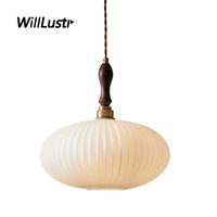 Creative Oval Glass Pendant Lamp Walnut Wood Copper Head Suspension Light Hotel Cafe Living Dining Bedroom Mouth-Blown Lighting