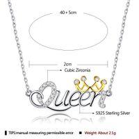 Collier Lekani pour femme S925 Sterling Sterling Lettre Queen Lettre Pender Porter Golden Crown Girlfriend Cadeaux Bijoux fins