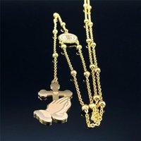Крест из нержавеющей стали Креста Иисуса Длинные ожерелья для женщин / мужчин Золотой цвет католицизма Ювелирные изделия Collier Homme N1166S05 Подвеска