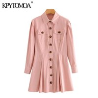 Günlük Elbiseler KPYTOMOA Kadınlar 2021 Chic Moda Düğme-Up Pileli Mini Elbise Vintage Uzun Kollu Yama Cepler Kadın Vestidos Mujer