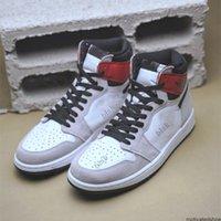 Новый выпуск свет дыма серый 1 высокий og белый черный университет красный 555088-126 1s баскетбольные туфли дизайнеры с оригинальной коробкой размером 36-45