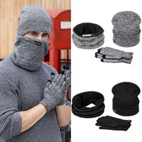Hats, Scarves & Gloves Sets 2021 High Quality Wool Plus Men's Cap Cashmere Warm Hat Scarf Touch Three Men And Women's Winter