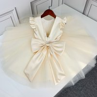 2021 Niños Niñas Big Bow Champagne Vestido Baby Girl Seda Party Vestidos Ropa al por menor