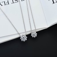 S925 silver flower pendant necklace stud earring with sparkly diamonds in two size and platinum color for women wedding jewelry gift PS8071