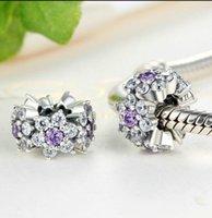 Esqueça-me não espaçadores de flores em esterlina claro CZ para pandora estilo frisado charme pulseiras ps2806