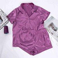 HiLoc Solid Satin Sleepwear Seide Pyjamas Set Top und Shorts Zweiteiler Set Pyjamas Frauen Pyjama Kurzarm Home Anzug Lässig 210326