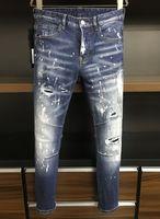 21s Mens jeans designer Ripped Skinny Trousers Moto biker hole Slim Fashion Brand Distressed ture Denim pants Hip hop Men D2 9816 dsquared2 dsquared 2 dsq