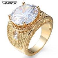 Wedding Rings VAMOOSY Luxury Huge Crystal Cubic Zirconia For Men And Women Male Metal Plated Zircon Ring Hip Hop