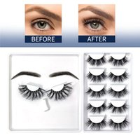 Wholesale 6 Pairs 3D Faux Mink Eyelashes with Eyebrow Fluffy False Eyelash long thick Lash In Bulk Makeup Cruelty Free Wispy Natural Look Lashes Extension