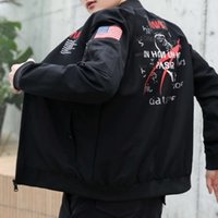 2021 spring and autumn new pilot jacket men's trend slim fitting baseball suit printed words embroidered military coat fashion brand men