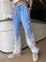2021 New design women's elastic waist gradient color cotton fabric logo print sports long trousers jogger pants