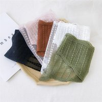 Scarves Striped Silk Lace Triangular Scarf French Exquisite Embroidered Wave Dot Headscarf Bag Decorated