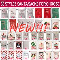 Christmas Santa Sacks Large Santa Gift Bag Drawstring Xmas Cotton Bag Stripe Canvas Candy Bags Wholesale MS25