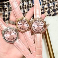 Reloj de pulsera hembra Números romanos de acero inoxidable Relojes de cuarzo Mujeres Simple Rosa Reloj Rhinestone Bracelet 36mm Relojes de pulsera