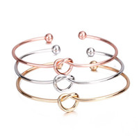 Knot Cuff Bracelets Bangles For Women Men Charm Heart Jewelry Silver Rose Gold Color Couple Bracelet Bangle Fashion Love Gift