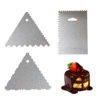 6ピース/セットケーキスクレーパーステンレススチールエッジ飾り櫛のアイシングスムーズなバタークリームサイドポリッシャーベーレッサーツール916 B3