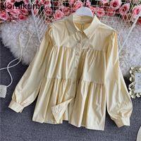 Nomikuma Korea Chic Puff Sleeve Women Blouse Causal Turn-down Collar Shirt Spring New Blusa Ropa Para Mujeres De Moda 6F031 210427