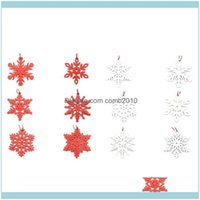 Decorations Festive Supplies Home & Gardenset Of 6 Wooden Hanging Hollow Snowflakes Pendants Xmas Tree Ornament Christmas Party Decoration S